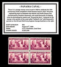 1939 - PANAMA CANAL - # 856 Vintage Mint -MNH- Block of Four Postage Stamps
