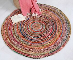 MISHRAN Braided Round Rug Flat Weave with Natural Jute and Multi Colour Recycled