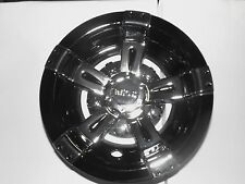 "GOLF CART HUB CAPS WHEEL COVERS RHOX 10"" VEGAS BLACK & CHROME YAMAHA CLUB CAR"