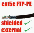 15m Black SHIELDED EXTERNAL Cat5e Outdoor Cable - 4 Pair FTP-PE Solid Copper