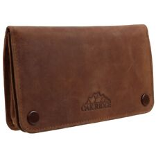 More details for oakridge distressed tan leather tobacco pouch with stud fastener