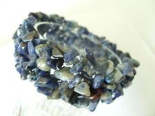 Breites Sodalith Splitter Armband Armkette dehnbar 18,5 cm m.vielen Blautönen