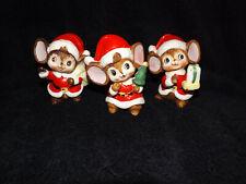 Homco Santa Christmas Mice Figurine set of 3