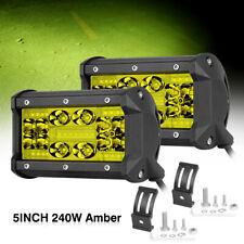 "2x 5"" Amber LED Work Light Bar Quad Row Pods Spot Flood Combo Driving Fog 3000K"