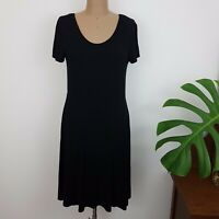 Seed Heritage Dress SZ L Black Fit and Flare Cap Sleeves Scoop Neck Stretch