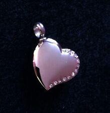 Silver Diamante Heart Cremation Pendant locket Memorial ashes keepsake Cancer