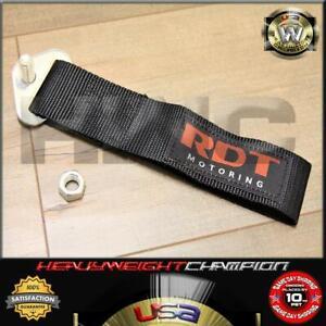 JDM Black Lumina Bolt-On Nylon Towing Belt Strap Bumper Tow Hook Adapter