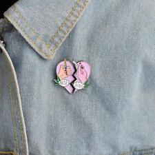 2Pcs Cute BEST BUDS Pink Heart Enamel Cartoon Badge Corsage Collar Brooch Pins