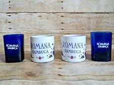 Romana Sambuca Coffee Espresso Demitasse Shot Glass Mugs Cups Italian Set of 4