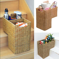 42cm Wicker Staircase Basket Rattan Handle Key Holder Shoe Storage Stair Step