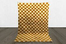 Yellow Checkered area rug, Moroccan Berber checker rug, custom checkerboard rug.