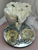 CRYSTAL GIFT SET-Roses In Mirror Cube, 2xCandle Holder, 20cm Crush Diamond Plate