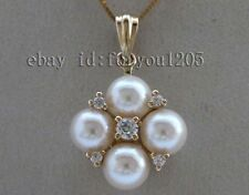 "16"" Luster Genuine Natural 6mm White Round Akoya Sea Pearl Pendant 18KT #f2490!"