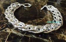 "925 Sterling Silver Bracelet Chain Link 8"" CUSTOM DESIGNED NEW Gift Bangle Cuff"