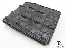 PELGIO Genuine Crocodile Alligator Hornback Skin Leather Bifold Wallet Brown