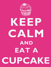 Keep Calm And Eat A Cupcake Baking Retro Style Metal Hanging Sign 20 x 15cm