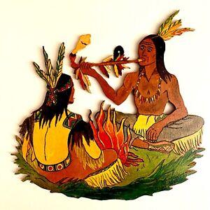 🎁 Laubsägearbeit 1950er Graupner Graubele Indianer 20x20cm Friedenspfeife ALT