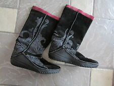 PUMA BLACK SUEDE LEATHER TALL BOOTS WOMENS 7.5 EMBROIDERED EMBELLISHED FREE SHIP