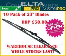"23"" WINDSCREEN WIPER BLADES. BOX OF 10. HOOK & BAYONET FITTING. ELTA (LUCAS)"