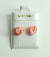 14k Yellow Gold Hand Carved Taiwanese Coral Rose Stud Earrings