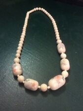 Vintage Estate Jewelry 18In Handpainted Material Necklace Strand Beads