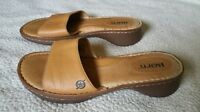 Born Slip On Brown Tan Leather Sandals Women's Size 8