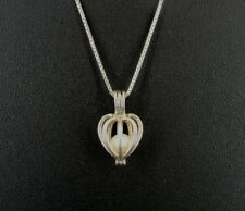 LUC Pearl in Cage Sterling Silver 925 Chain Pendant NECKLACE