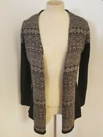KUNA Womens Sz S 100% Baby Alpaca Open Front Cardigan Sweater Black Prints