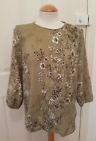 ladies NEXT olive tunic blouse top size 12 floral