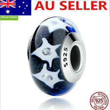 S925 Solid Sterling Silver European Blue Murano Glass Charm bead 5#
