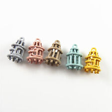 Mini Bird Cage Shaped Mixed Color Zinc Alloy Pendants Charms Jewelry 15pcs/lot