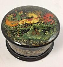 Russian Black Lacquer Box Troika Sleigh Sled Fairy Tale Box Marked USSR