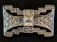 Vintage Classic Art Deco Style Marcasite Brooch Pin w/Center Crystal Rhinestone