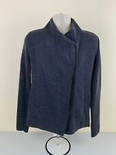 Vince Men Jacket Leather Zipper Large Dark Gray 100% Wool - Excellent Cond