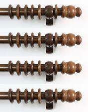 House BULK PACK 4 x 23mm dia Wooden Walnut Wood Curtain Poles 120cm (4')