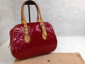 """Auth Louis Vuitton Vernis Leather Summit Drive Boston Bag Red M93513 5F230240"""""""