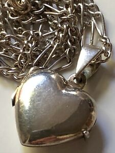 Sterling silver heart locket pendant and '925' figaro chain necklace 7.49g LOVE