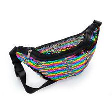Ladies Girls Womens Rainbow Pride Sequin Retro Bum Bag New Festival Camping
