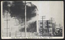 Postcard SALEM Mass/MA  Canal St Local Area 3 Story Homes Fire Disaster 1910's