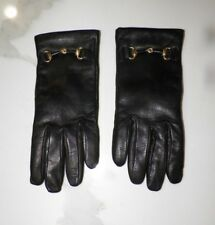 WOMAN'S VINTAGE BLACK LEATHER GLOVES WITH HORSE BIT SZ 6 1/2 CASHMERE LINED
