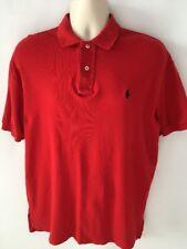 Ralph Lauren Polo Shirt Men Red Short Sleeves Blue Pony Size M