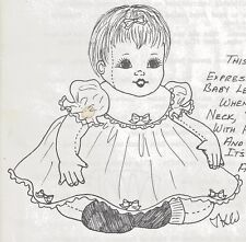 "28""CLOTH/SOFT SCULPTURE 6-9 mos.BABY DOLL w/SWIVEL HEAD PINAFORE DRESS PATTERN"