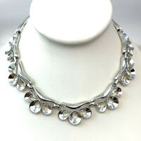 VINTAGE NECKLACE CHOKER SILVER TONE METAL GREAT FOR STACKING
