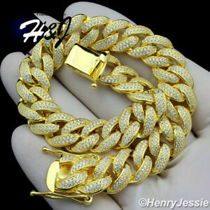 "8.5""MEN 925 STERLING SILVER 12MM ICY DIAMOND GOLD MIAMI CUBAN CHAIN BRACELET*B12"