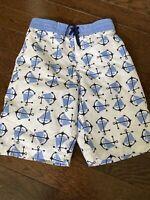 Janie and Jack Boys 12 Swim Suit Trunks Board Shorts Blue Navy Anchor EUC