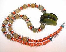 Antique Czech Lion Claw Glass Beads Necklace W/ Agate, Venetian Beads & Metal