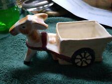 small vintage ceramic donkey pulling wagon,japan