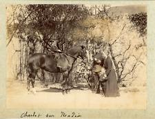 France, Garçon sur un cheval, ca.1890, vintage albumen print Vintage albumen pri