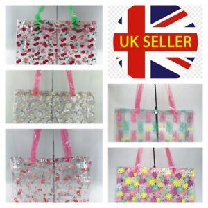 Womens PVC Waterproof Swimming School Summer Beach Shopper Tote Holiday Bag UK
