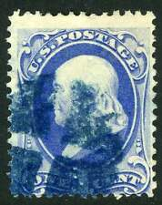 Fancy Cancel Scott 145 Used 1c Franklin Bank Note Deep Blue Negative Cross